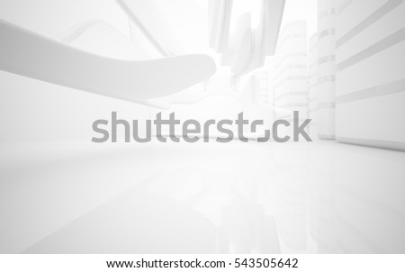 White smooth abstract architectural background whith gray lines . 3D illustration and rendering