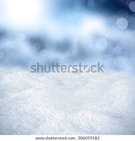 white snow of winter and frost with blurred space  - stock photo