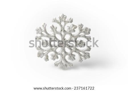 White Snowflake on a white background. Winter symbol - stock photo