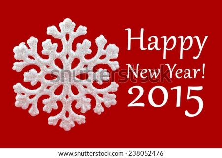 White Snowflake on red background. Winter symbol. Happy New Year 2015! Greeting card. Christmas decoration. - stock photo