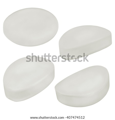 White soap piece set isolated on white background - stock photo