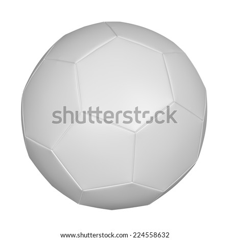 White soccer ball on an isolated white background - stock photo