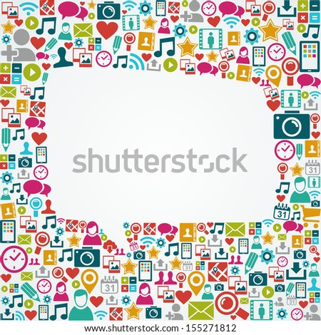 White social media speech bubble silhouette over icons composition.