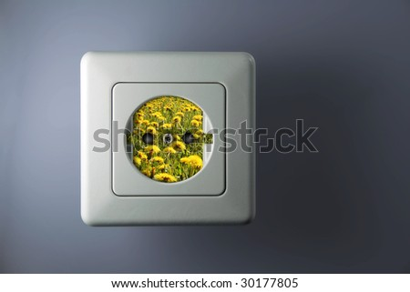 white socket with green and free energy - stock photo