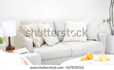 white sofa and chair - stock photo