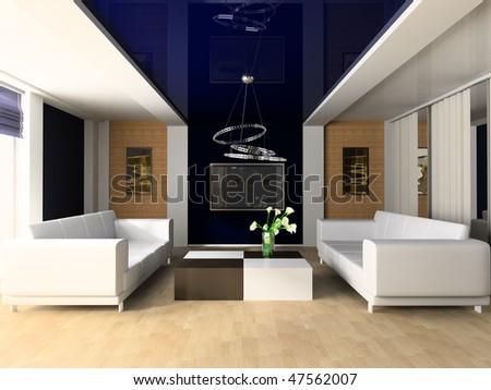 White sofa in a rest room 3d image