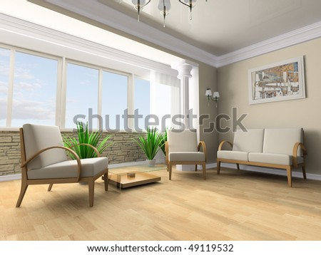 White sofa in a rest room 3d image - stock photo