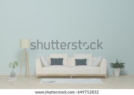 White Sofa In The Living RoomInterior With Sofapillowslampbooks