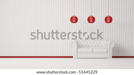 White sofa in white room with red plinth and lamps interior 3d