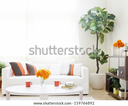 white sofa interior - stock photo