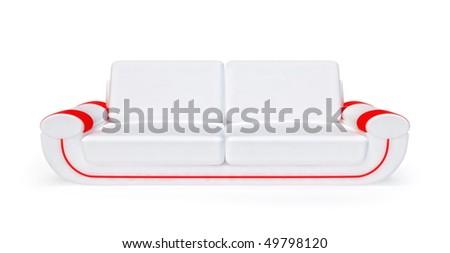 White sofa isolated on white background - stock photo