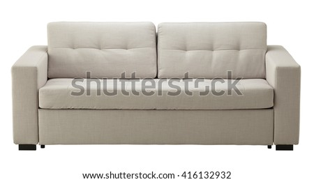 White sofa isolated on white include clipping path - stock photo