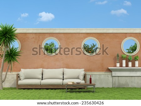 White sofa on grass in a garden - 3D Rendering - stock photo