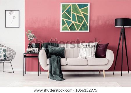 White Sofa Blanket Pillows Green Geometric Stock Photo 1056152975 ...