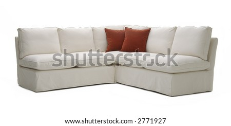white sofa with pillows - stock photo