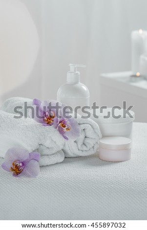 White spa set isolated on a light background