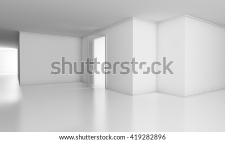 white space, 3d illustration, empty bright office - stock photo
