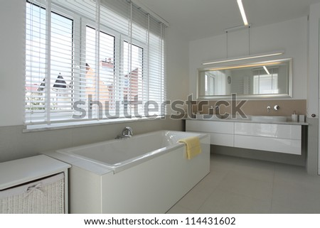 White spacious bathroom in contemporary house