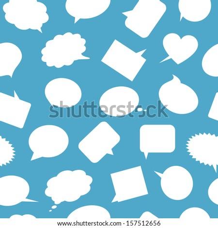 White speech bubbles on blue background. Seamless pattern. - stock photo