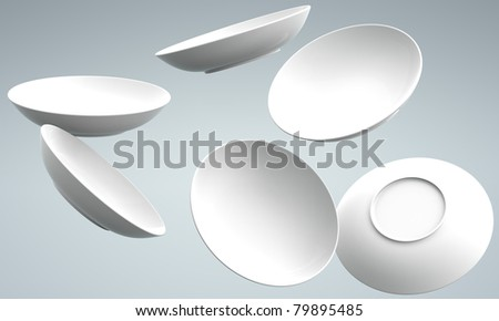 White Sphere Dish plate fall and  Spread on white background. Isolated 3d model - stock photo