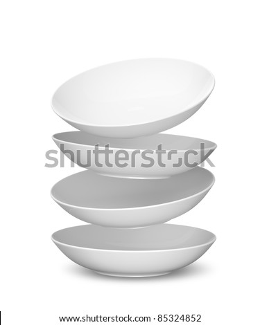 White Sphere Dish plate Float and Overlay on white background. Isolated 3d model - stock photo