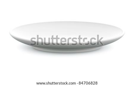 White Sphere Dish plate side view on white background. Isolated 3d model