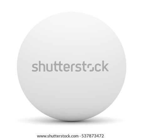 White sphere isolated on white. Template for your design. 3D illustration