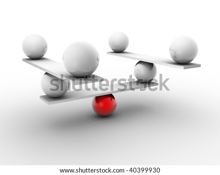 White spheres balanced by a red sphere - 3d render - stock photo