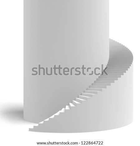 White spiral stair isolated on a white background - stock photo