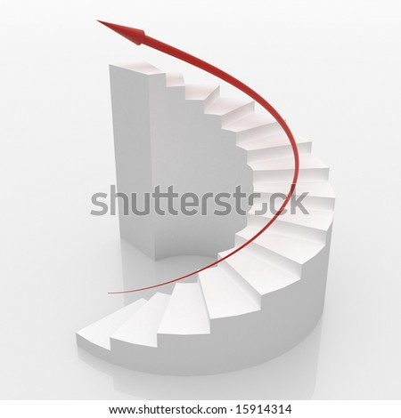 White spiral stairs to success - stock photo