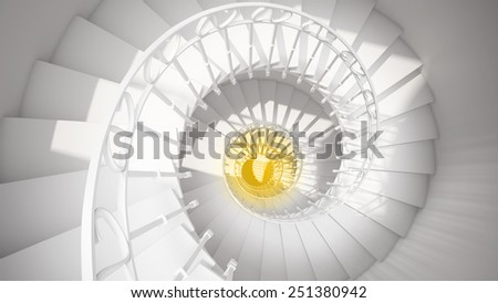 White spiral stairs with rails in sun light and yellow center abstract 3d interior - stock photo