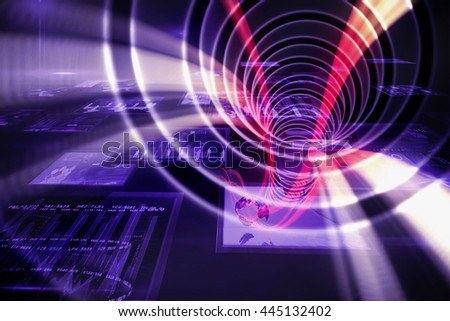 White spiral with red light against screen collage showing business images
