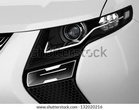 White sport car - stock photo