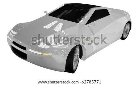 White sport car - front side top view