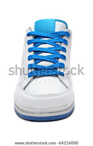 White sport shoe isolated on a white background - stock photo