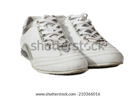 White Sport shoes isolated on white  - stock photo