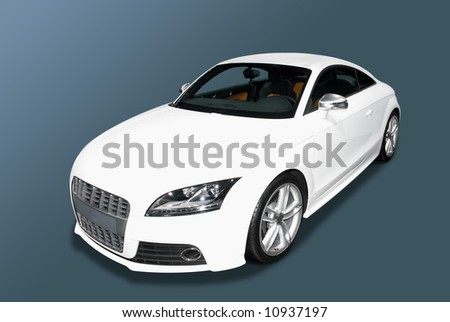 White sports car isolated on a blue gradient background.  A realistic shadow is added to the underneath of the car. Pen toll clipping path for the car only is included. - stock photo