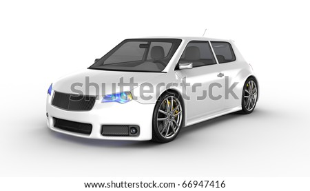 White sports car isolated on white. No trademark issues as the car is my own design. This is a detailed 3D render. - stock photo