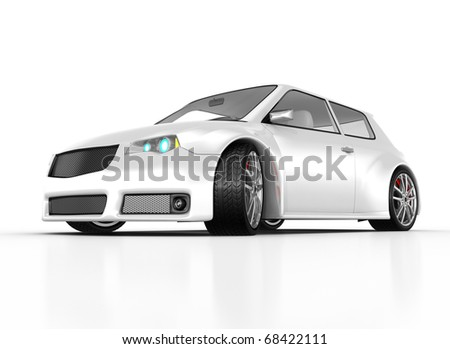 White sports car isolated on white. This is a detailed 3D render. - stock photo
