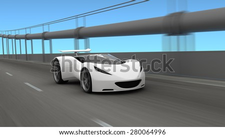 White sports car on roadway, 3D render - stock photo