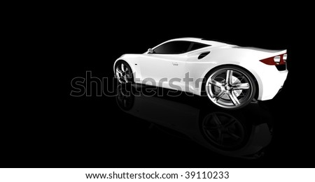 white sports car / sportscar in studio isolated on black with reflection and copy space - stock photo