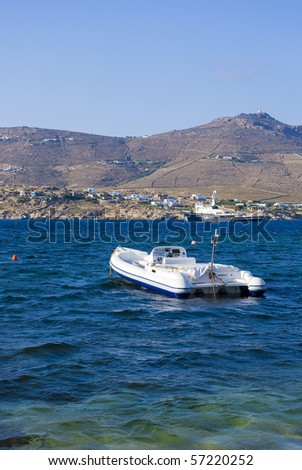 white sports motor boat in the blue sea ... - stock photo