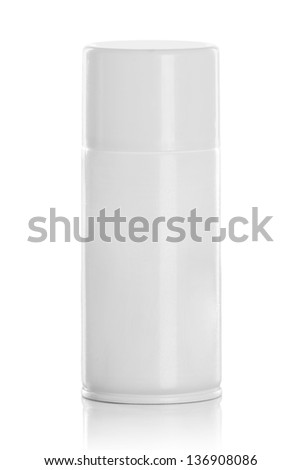 white spray can isolated on white background - stock photo