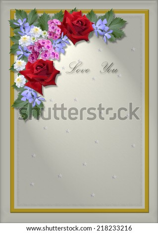 White square frame with an angle of flowers and leaves - stock photo