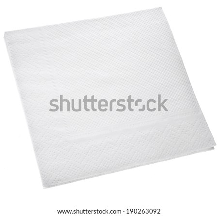 White Square paper napkin  isolated on white background - stock photo