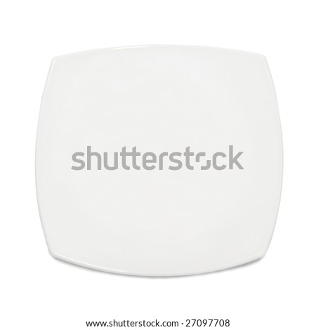 White square plate isolated on the background