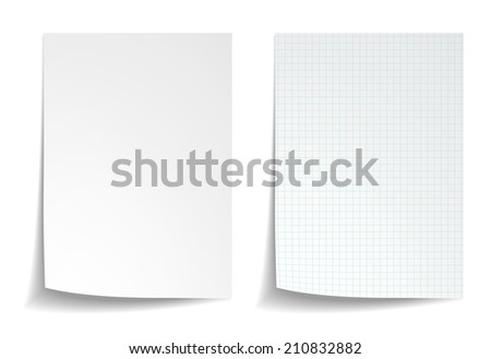 White squared notebook paper on white background - stock photo