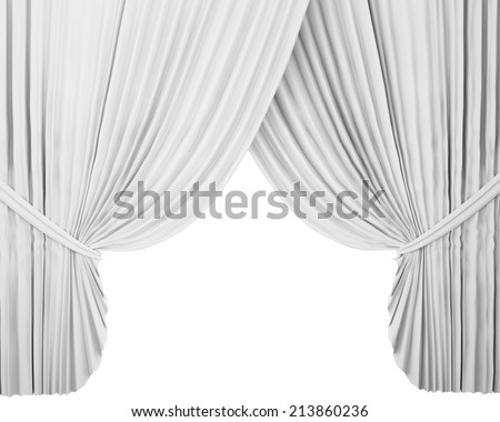 white stage curtain, background - stock photo