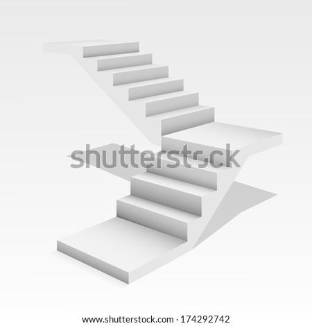 White stair. - stock photo
