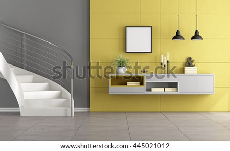 White stair in a minimalist living room with gray sideboard on yellow wall - 3d rendering
